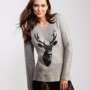 Bethany Mota Gray Sequin Reindeer Sweater sz Med